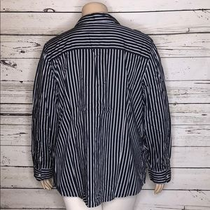 Charter Club Tops - Charter Club 24W Navy Striped Pleated Button Shirt